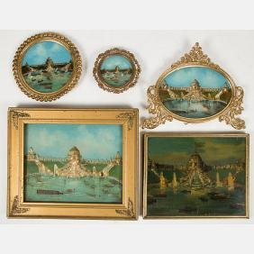 A Group of Five Framed Reverse Painted and Pearlized