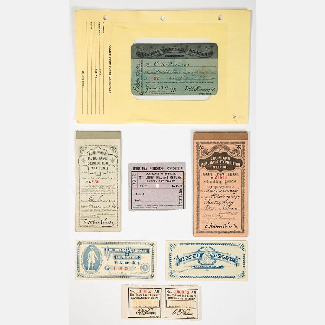 A Group of Seven Paper Tickets from the Louisiana