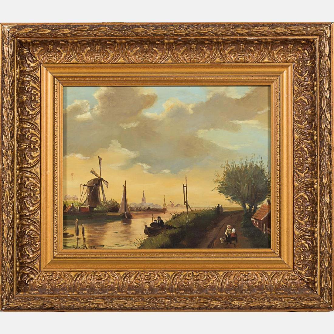 Herkelman (20th Century) Dutch River Scene, Oil on