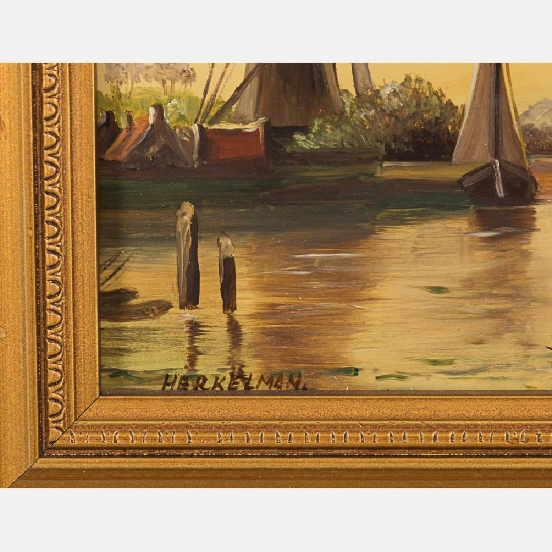 Herkelman (20th Century) Dutch River Scene, Oil on - 2