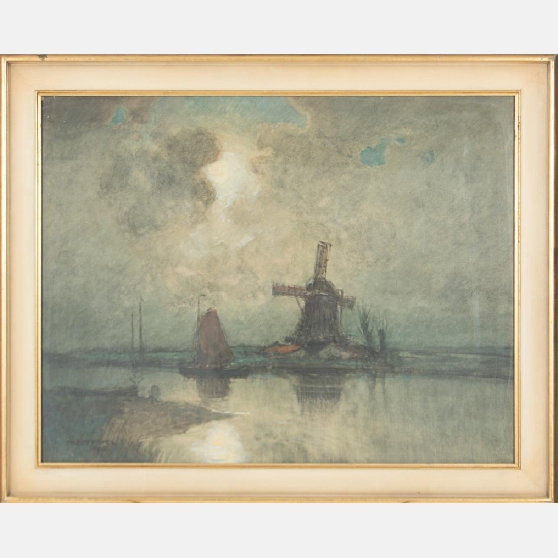 William Frederick Ritschel (1864-1949) Moonlit Harbor