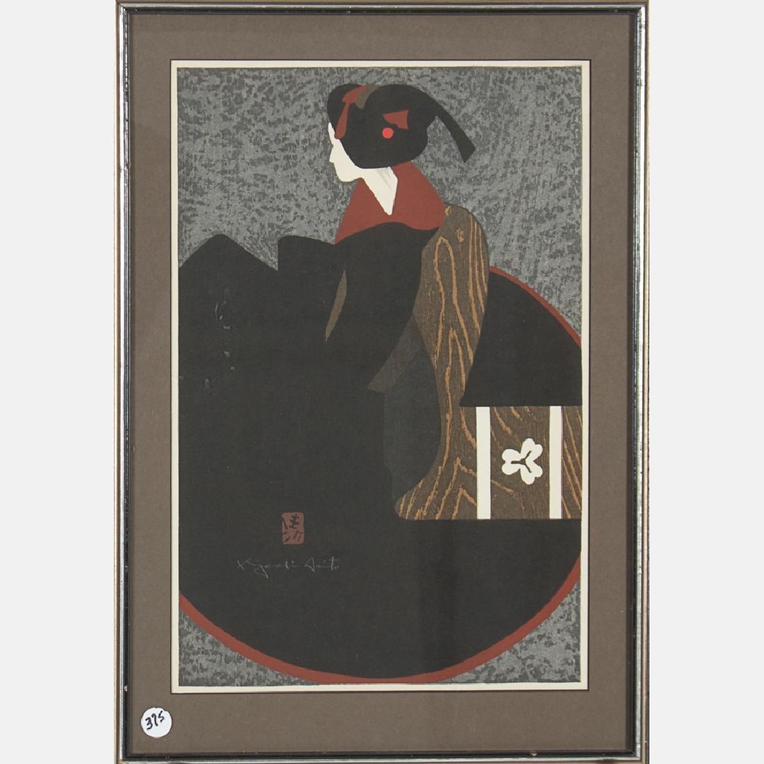 Kiyoshi Saito (1907-1999) Geisha, Woodcut,