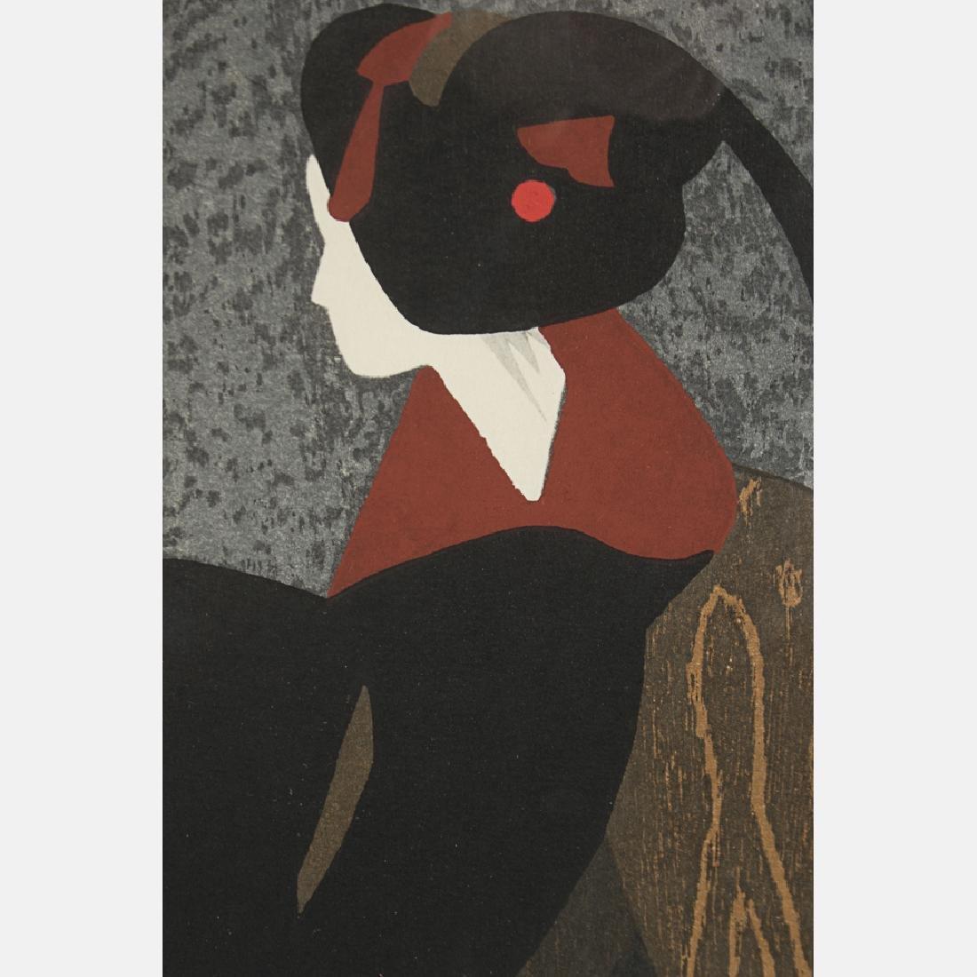 Kiyoshi Saito (1907-1999) Geisha, Woodcut, - 3