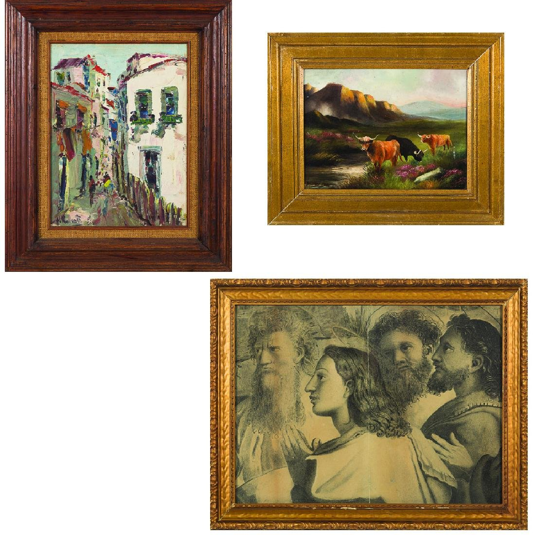 Two Oil on Canvas Decorative Paintings by Various
