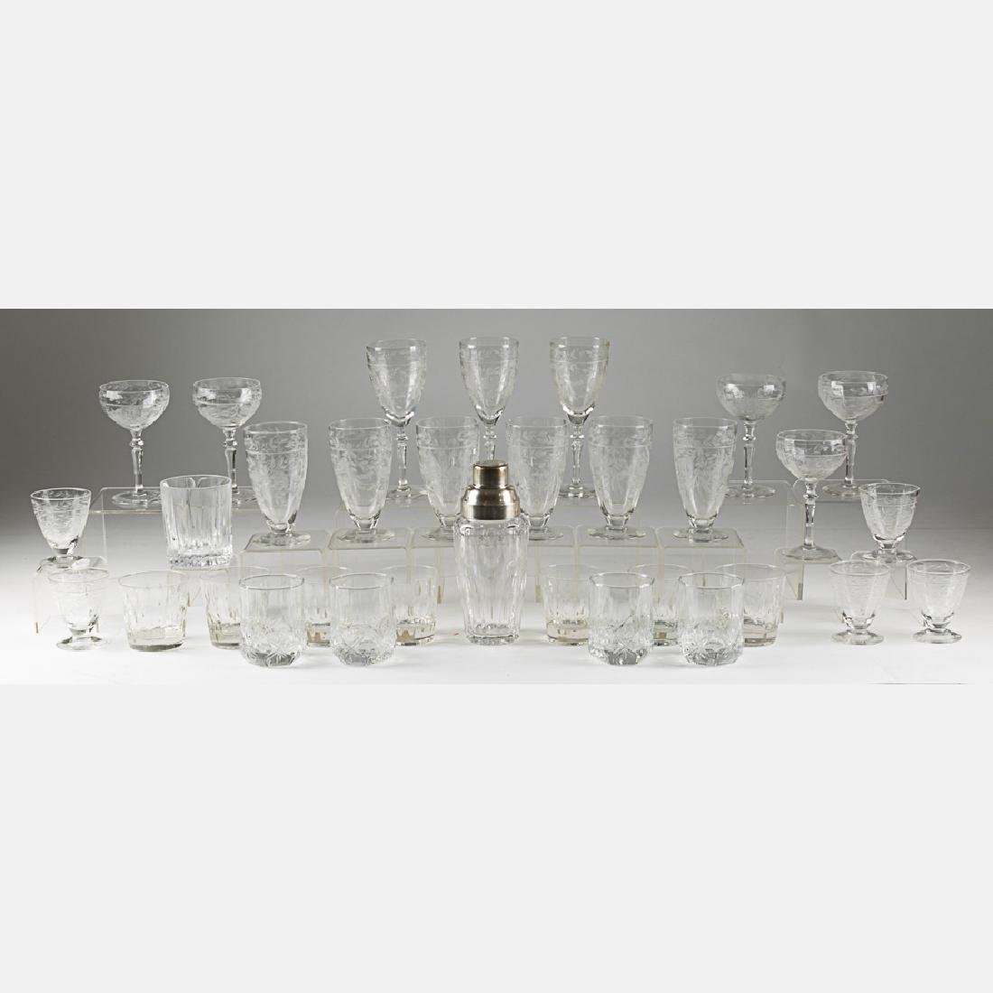 A Collection of Etched Crystal Stemware, 20th Century,