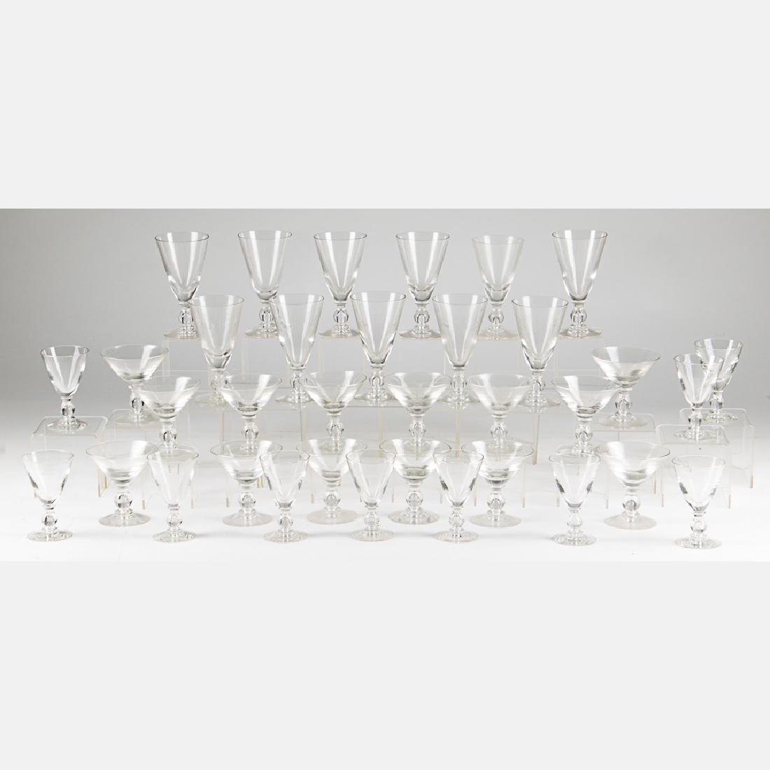 A Set of Crystal Blown Stemware, 20th Century,