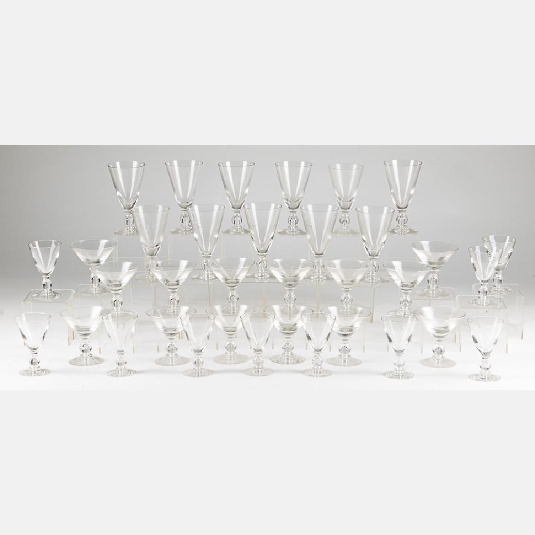 A Set of Crystal Blown Stemware, 20th Century,