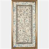 A Chinese Silk Forbidden Stitch Embroidery Panel 19th