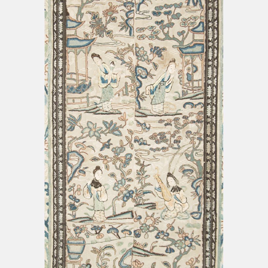 A Chinese Silk Forbidden Stitch Embroidery Panel, 19th - 2