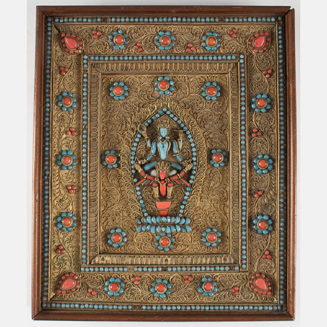 An Indian Brass, Turquoise and Coral Framed Altar