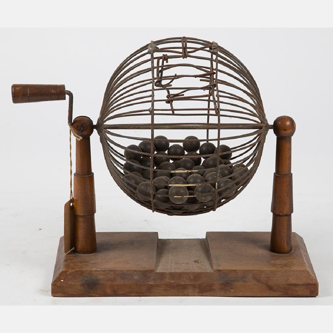 A Vintage Wood and Metal Wire Bingo Ball Cage, 20th