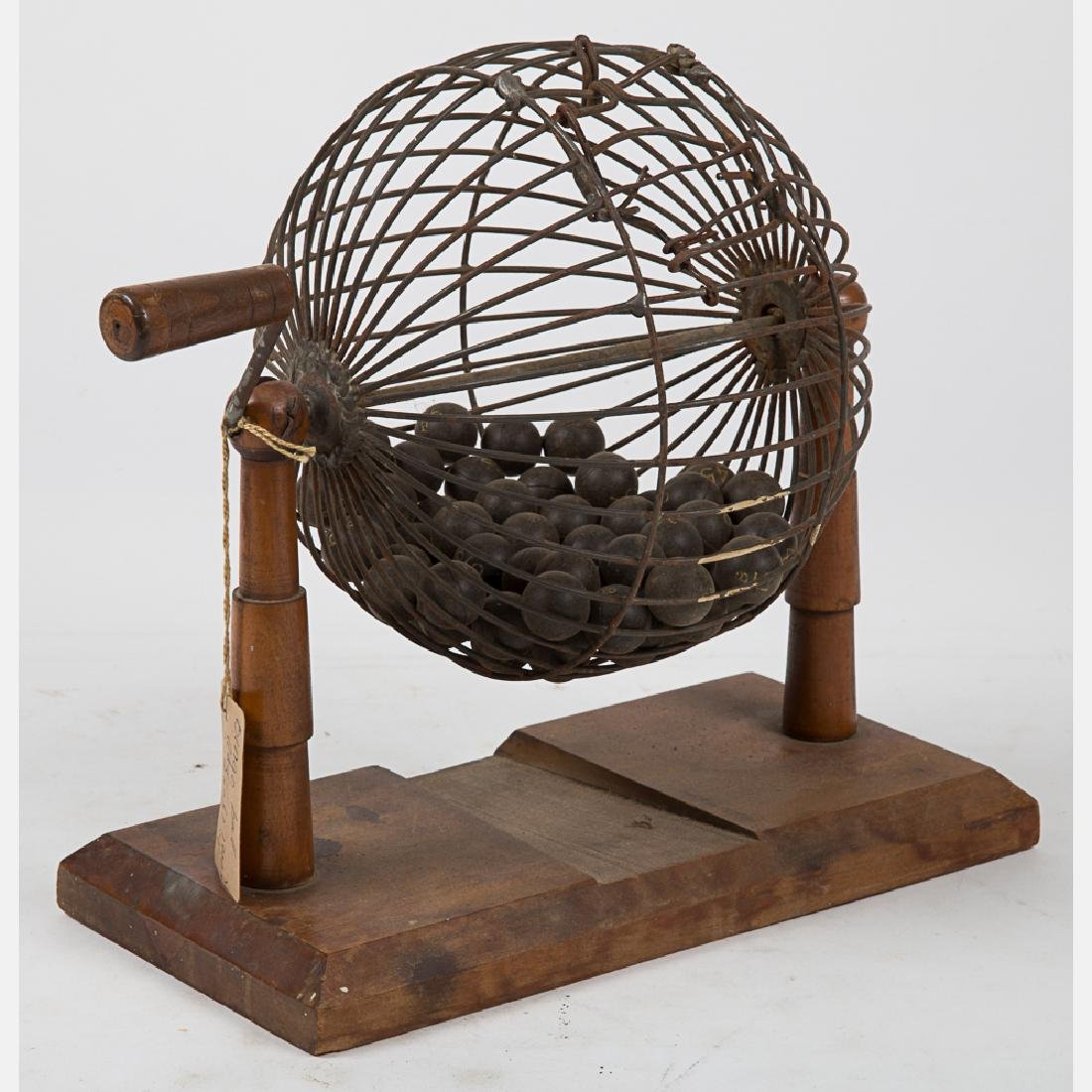 A Vintage Wood and Metal Wire Bingo Ball Cage, 20th - 2
