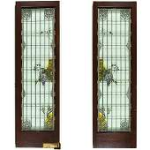 A Pair of Tiffany Style Wisteria Pattern Stained Leaded