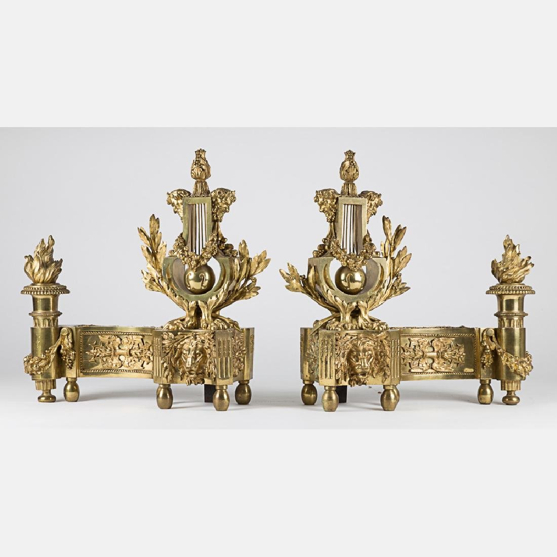 A Pair of Louis XV Style Bronze Dore Chenets, 19th/20th