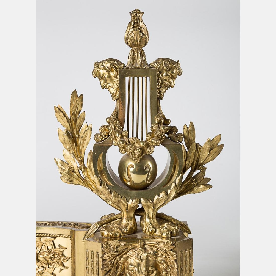 A Pair of Louis XV Style Bronze Dore Chenets, 19th/20th - 3