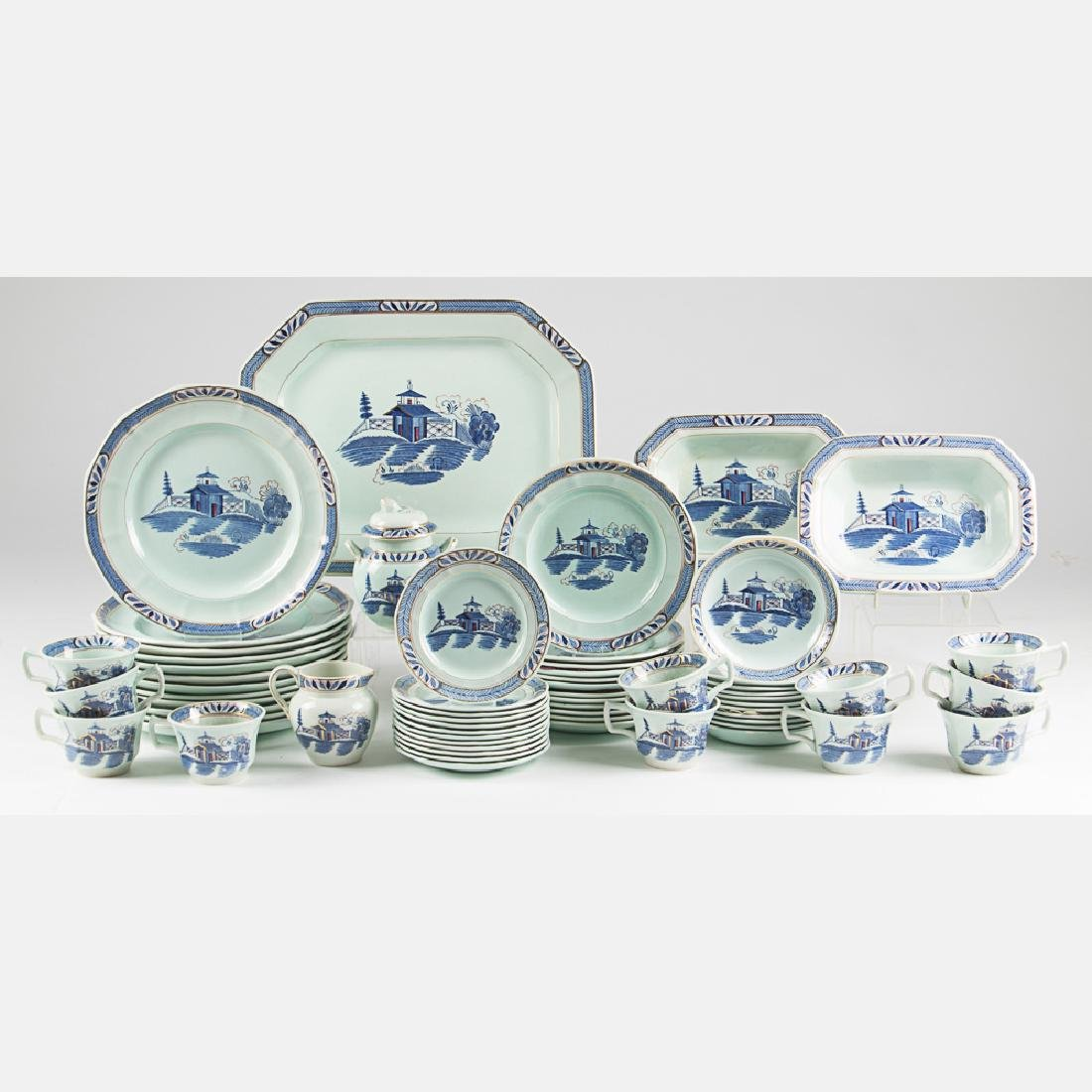 A Partial Adams Old Free Hand Porcelain Dinner Service,