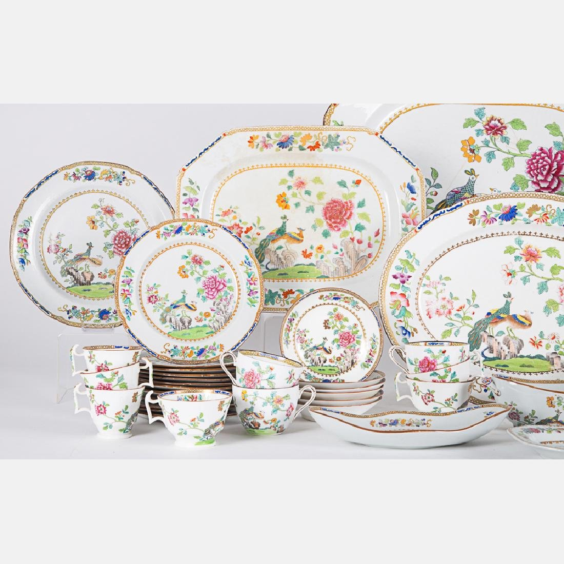 A Partial Spode Stoneware Luncheon Set in the Peacock - 3