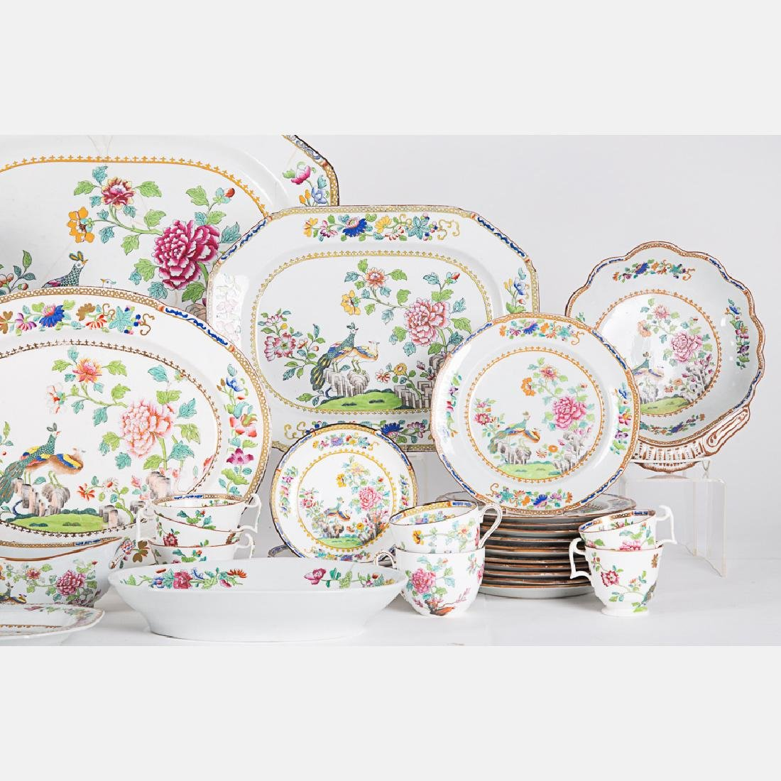 A Partial Spode Stoneware Luncheon Set in the Peacock - 4
