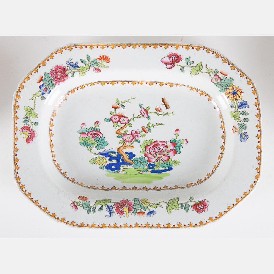 A Partial Spode Stoneware Luncheon Set in the Peacock - 5