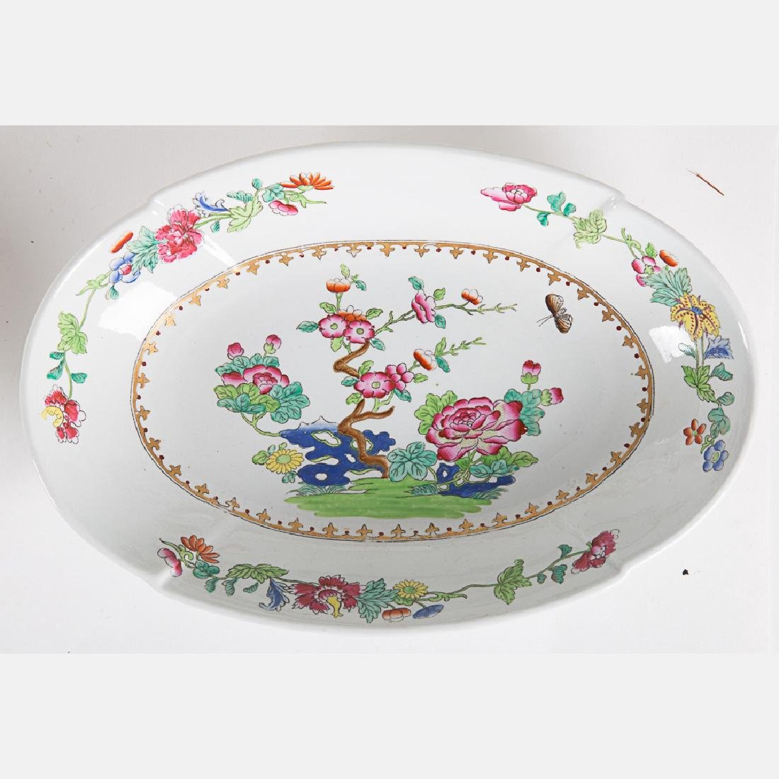 A Partial Spode Stoneware Luncheon Set in the Peacock - 7