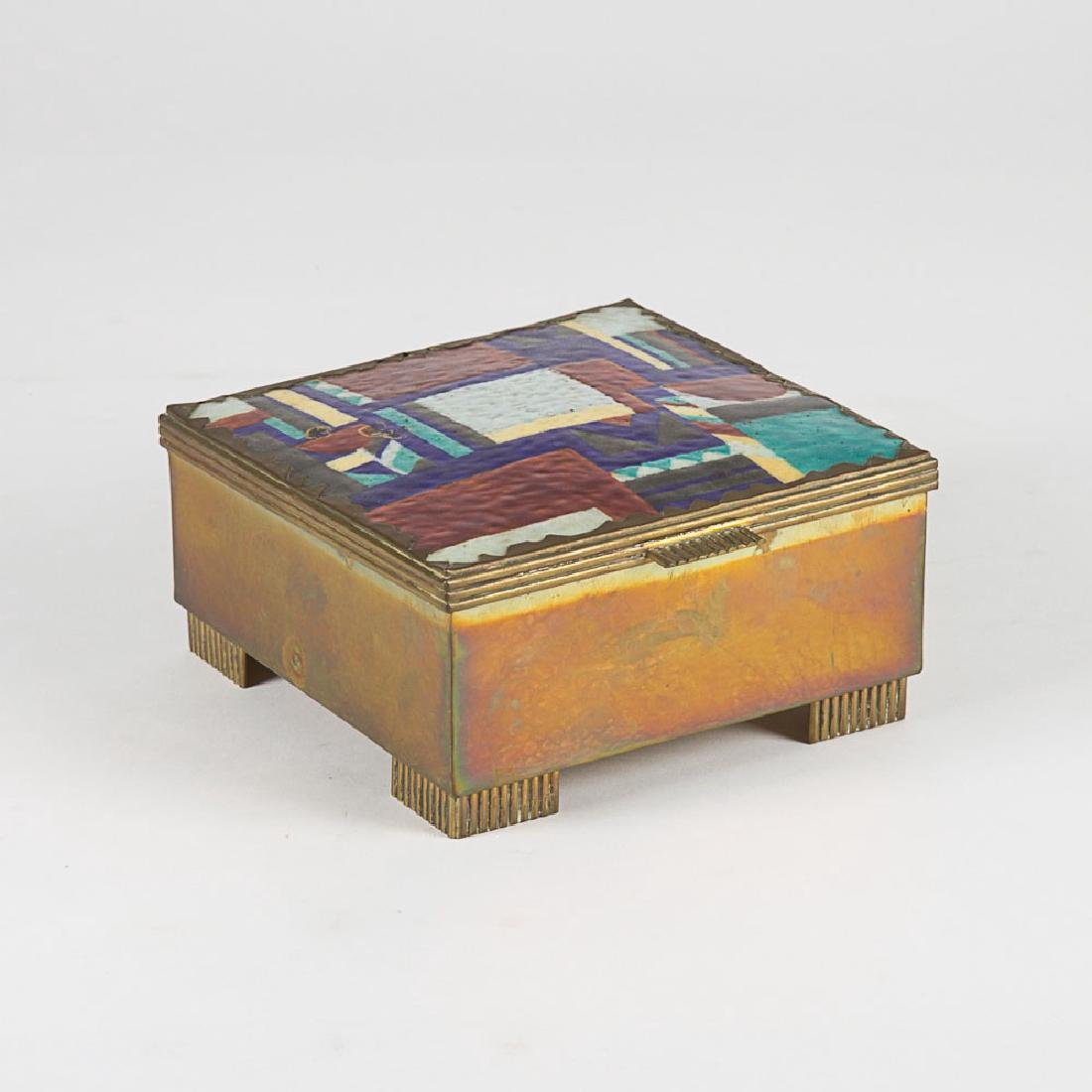 A Vienna School Hammered Brass and Enameled Lidded Box,