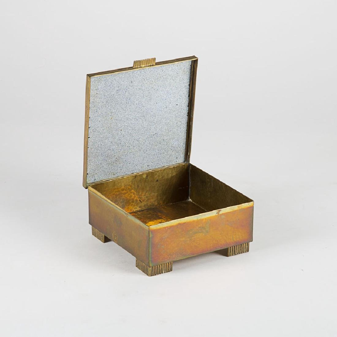 A Vienna School Hammered Brass and Enameled Lidded Box, - 2
