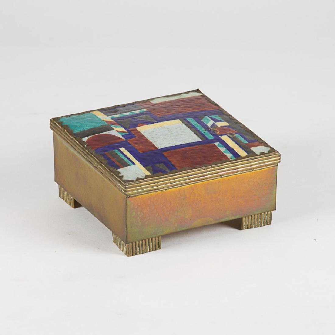 A Vienna School Hammered Brass and Enameled Lidded Box, - 4