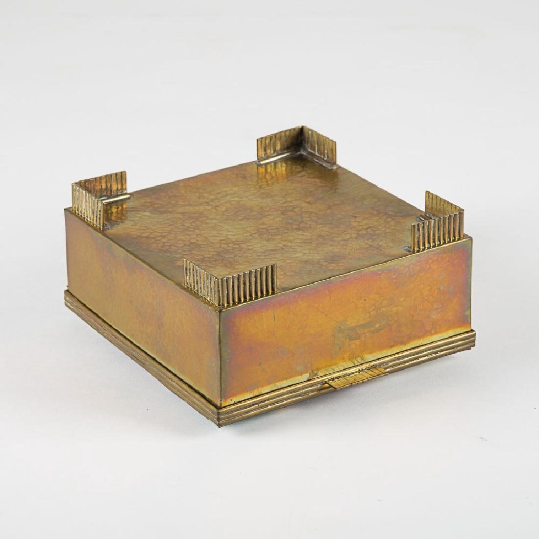 A Vienna School Hammered Brass and Enameled Lidded Box, - 6
