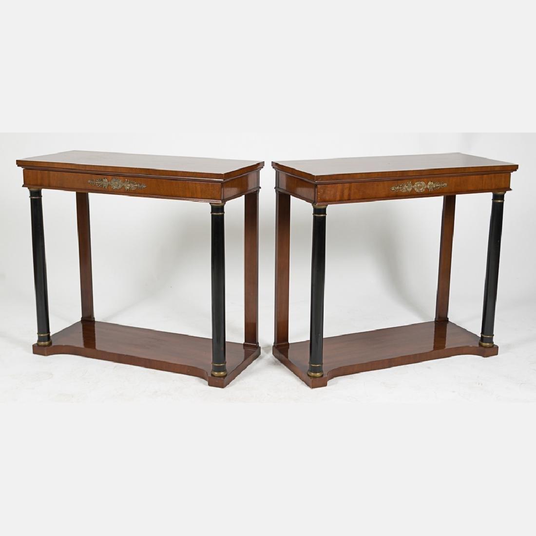 A Pair of Kittinger Mahogany and Ebonized Wood Console