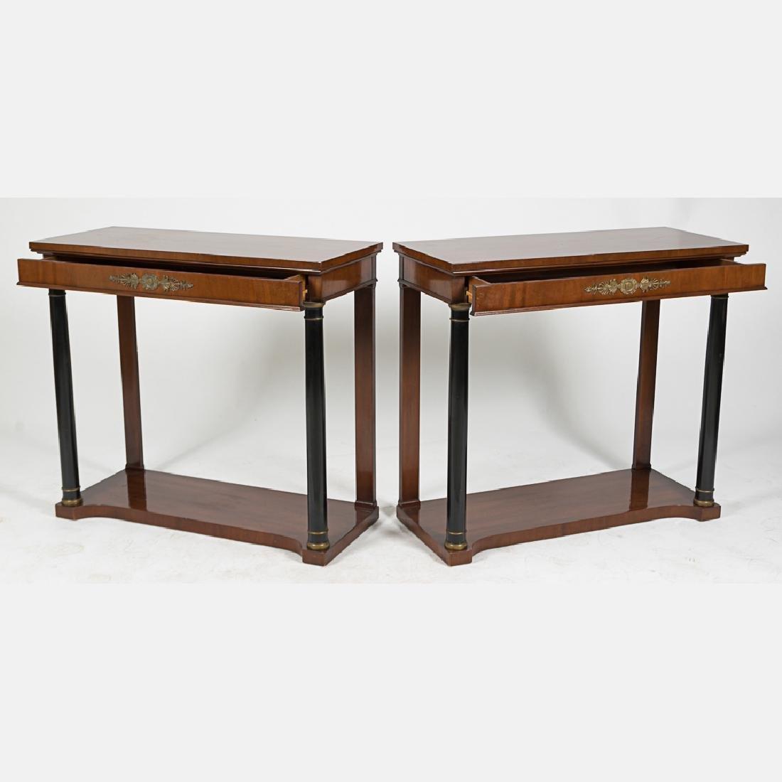 A Pair of Kittinger Mahogany and Ebonized Wood Console - 2