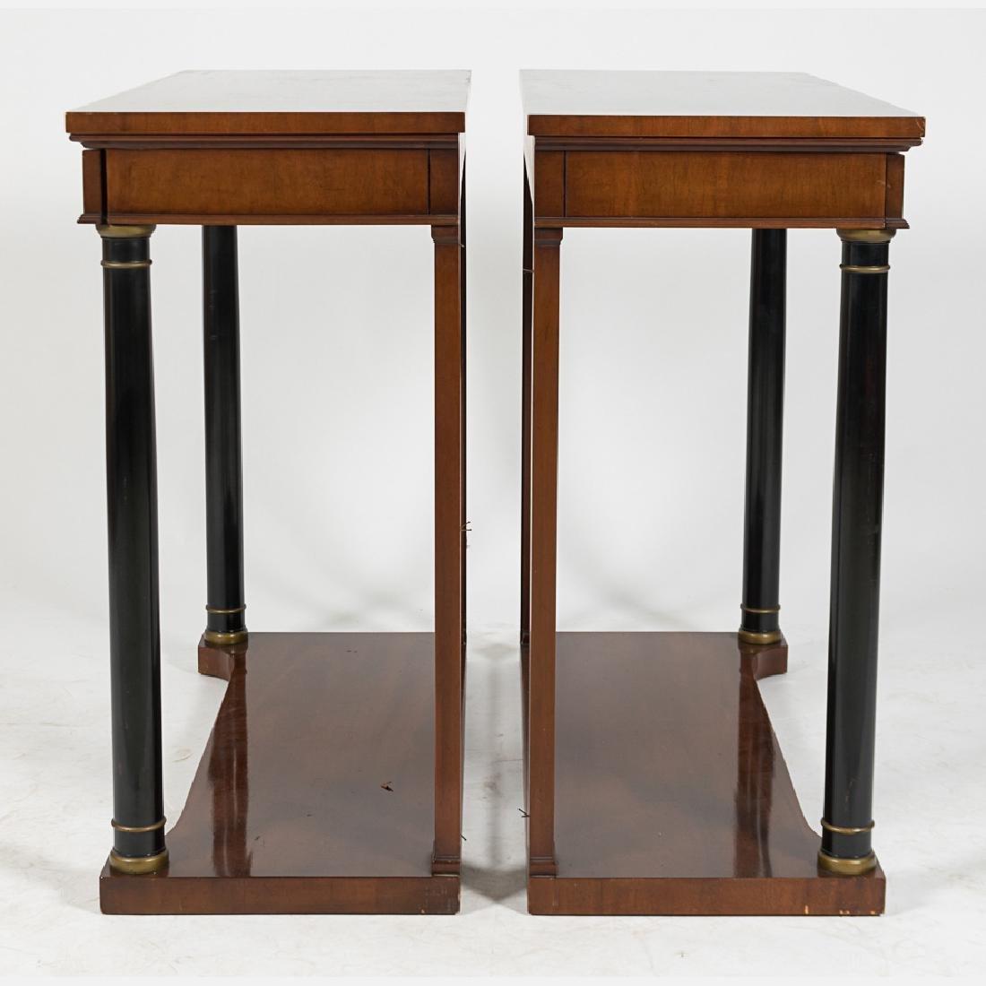 A Pair of Kittinger Mahogany and Ebonized Wood Console - 3