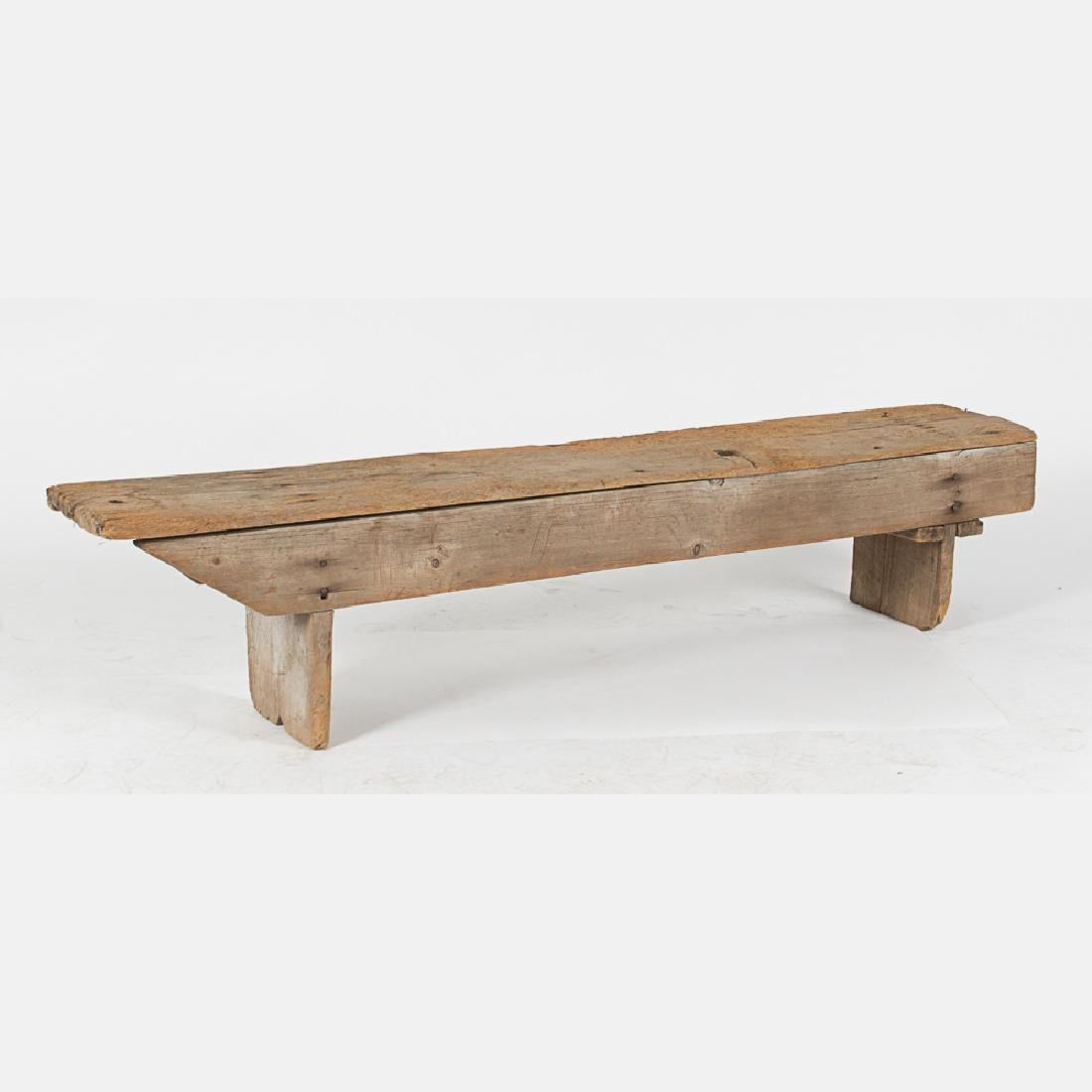 An American Rustic Pine Bench, 19th Century.