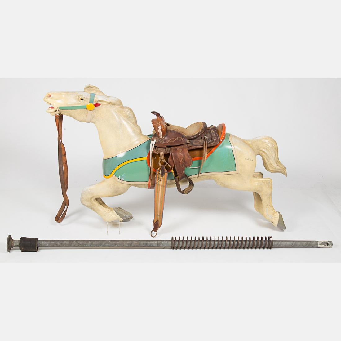 An Antique Painted Aluminum Carousal Horse, 20th