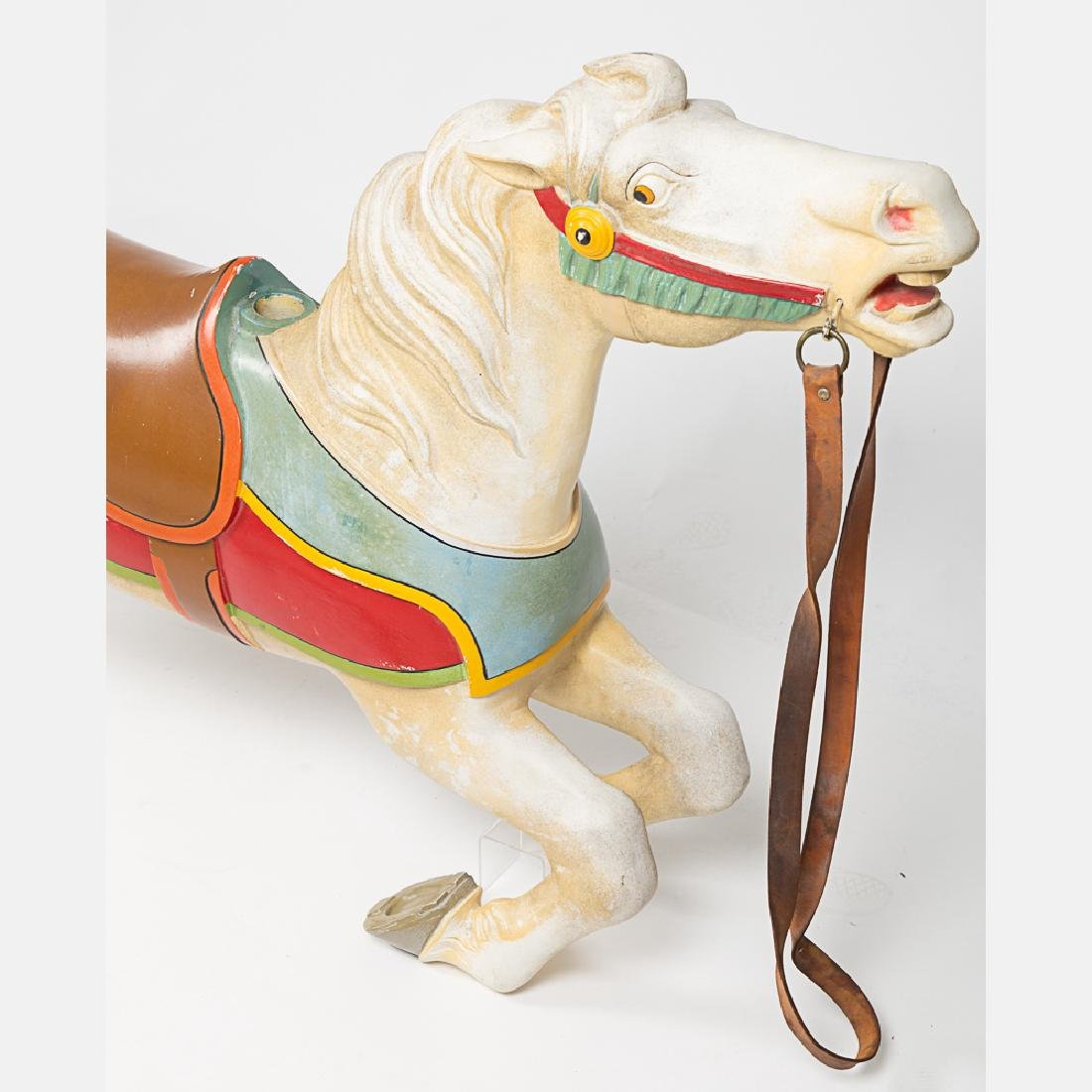 An Antique Painted Aluminum Carousal Horse, 20th - 3
