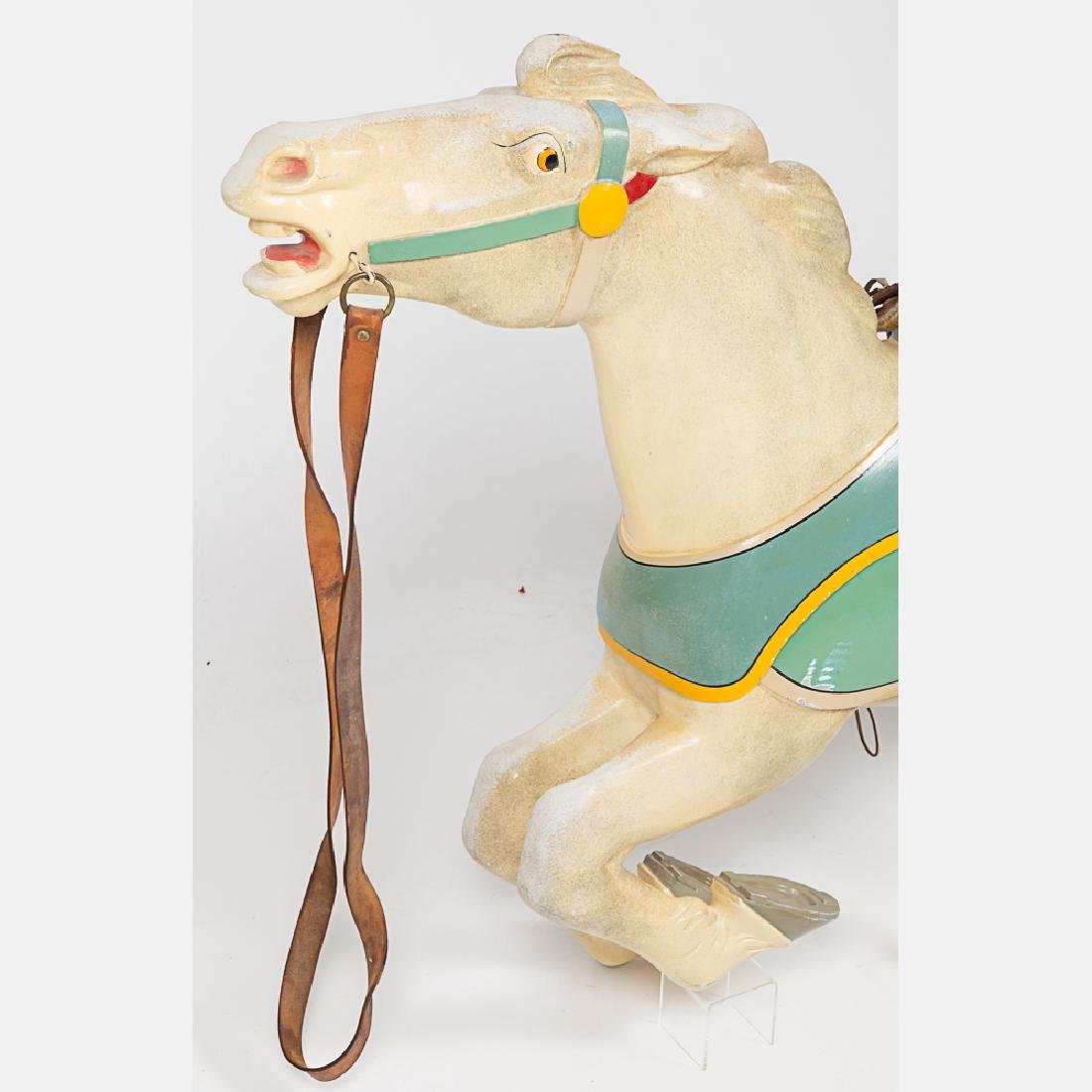 An Antique Painted Aluminum Carousal Horse, 20th - 4