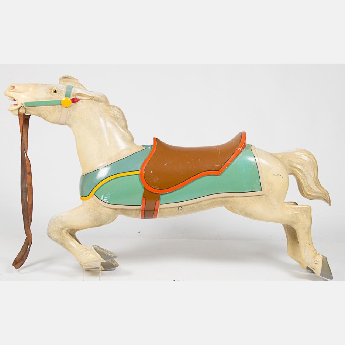 An Antique Painted Aluminum Carousal Horse, 20th - 9