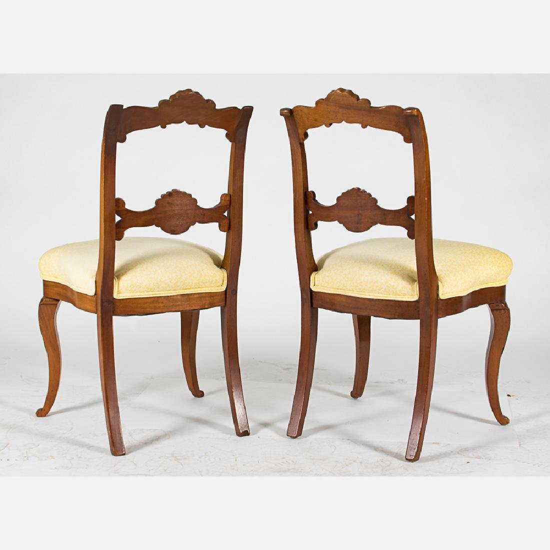A Pair of Victorian Carved Mahogany Side Chairs with - 2