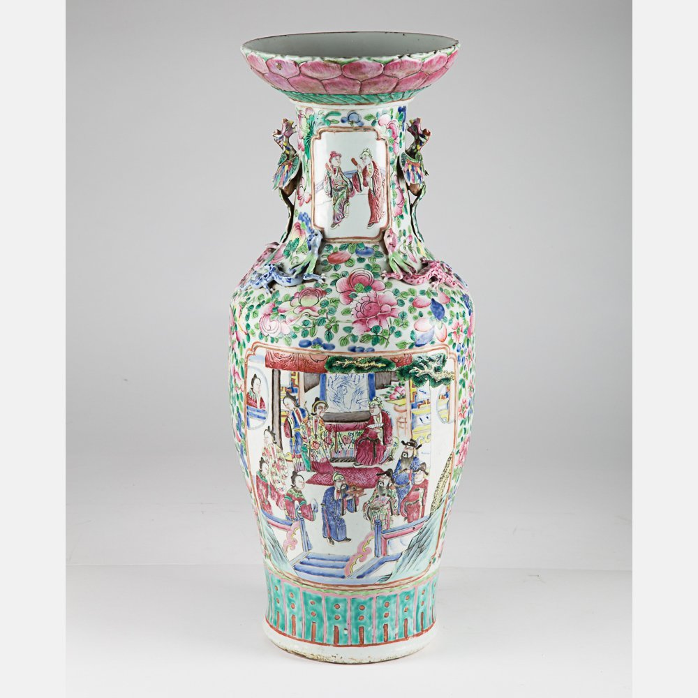 A Large Chinese Porcelain Famille Rose Vase, 19th/20th