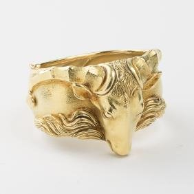 An 18kt. Yellow Gold Ram's Head Cuff Bracelet.