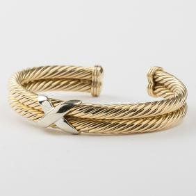 A 14kt. Yellow and White Gold X-Form, Rope Twist