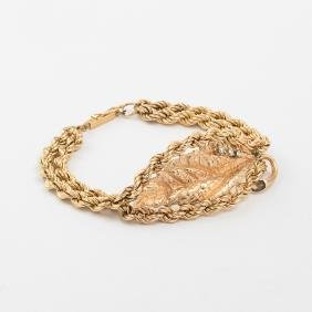 A 14kt. Yellow Gold and Diamond Rope Twist, Leaf Form