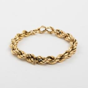 A 14kt. Yellow Gold Hollow Rope Twist Bracelet.
