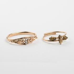 Two Victorian 10kt. Yellow Gold Plated Bracelets,