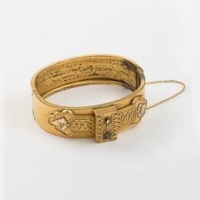 A Victorian Gold Filled Cuff Bracelet.