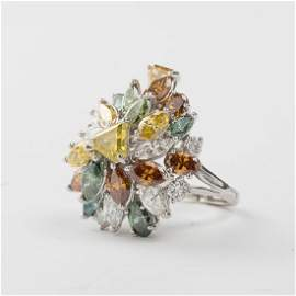 A 14kt. White Gold and Multi-Colored Diamond Ring,