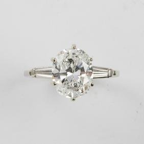 A 14kt. White Gold and Diamond Ring,