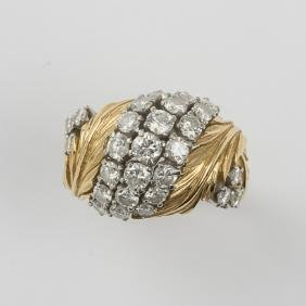 An 18kt. White and Yellow Gold, Diamond Ladies Ring,