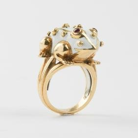 A David Webb 18kt. Yellow and White Gold, Enameled Frog