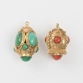 Two 14kt. Yellow Gold, Turquoise and Coral Pendants.