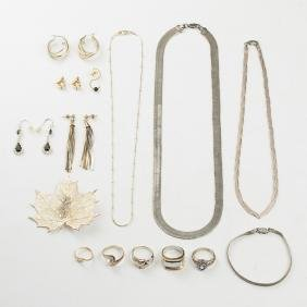 A Collection of Sterling Silver Jewelry and a 12kt.